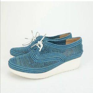 Robert Clergerie Vilcolem Raffia Wedge Shoes